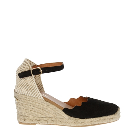 Brittany Black Espadrille Wedge Sandals  - Click to view a larger image