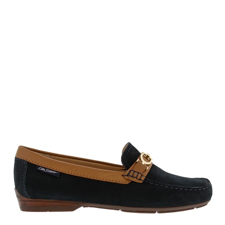 Hazelle Navy and Tan Loafers