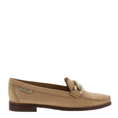 Janelle Beige Nubuck Leather Loafers