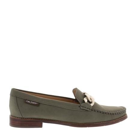 Janelle Khaki Nubuck Leather Loafers