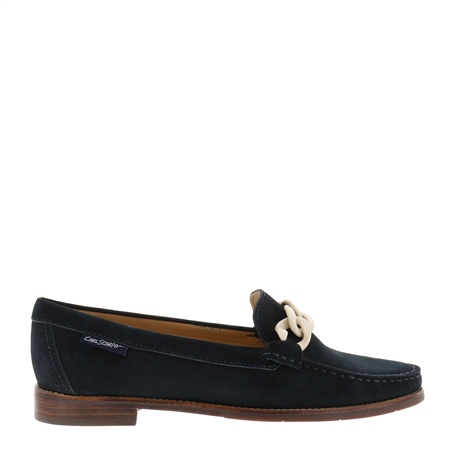 Janelle Navy Nubuck Leather Loafers