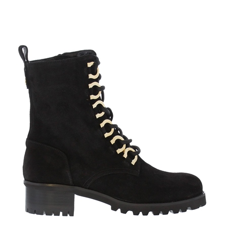 Perdita Black Suede Lace-Up Ankle Boots  - Click to view a larger image