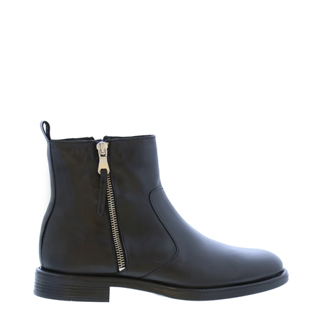 Riah Black Leather Zip-Up Ankle Boots  - Click to view a larger image