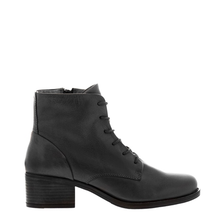 Roberta Black Leather Lace-Up ankle Boots  - Click to view a larger image