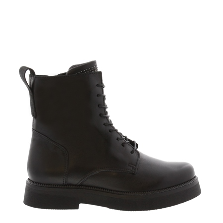 Aymara Black Leather Lace Up Ankle Boots  - Click to view a larger image
