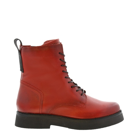 Aymara Red Leather Lace Up Ankle Boots