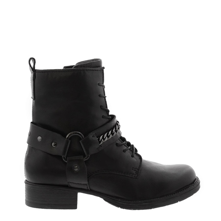 Azalea Black Leather Biker Ankle Boots  - Click to view a larger image