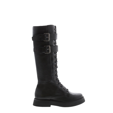 Antoinette Black Leather Lace Up Boots