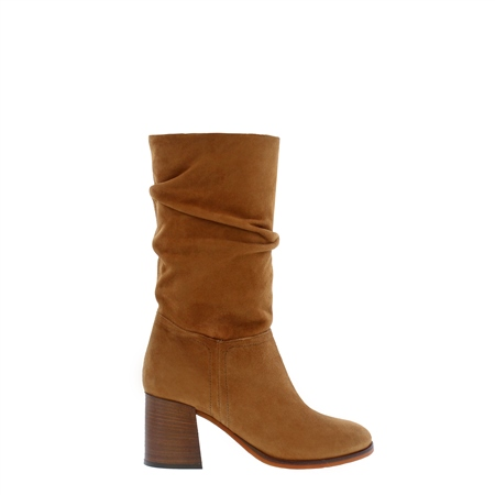 Aquila Tan Suede Ruched Boots Exclusive