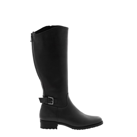Vendetta Black Leather Knee High Boots  - Click to view a larger image