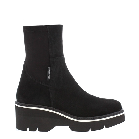 Magenta Black Suede Wedge Ankle Boots  - Click to view a larger image