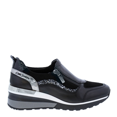 Abbey Black Leather Wedge Trainers  - Click to view a larger image