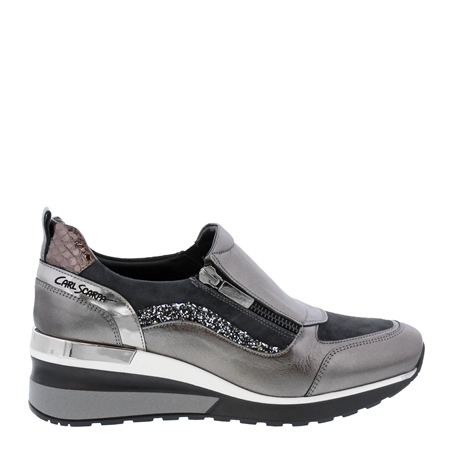 Abbey Grey Metallic Wedge Trainers  - Click to view a larger image