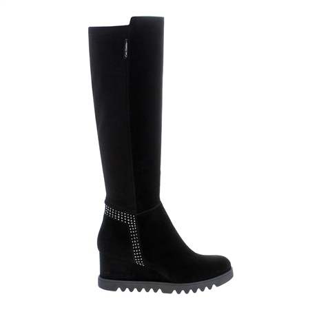 Mafalda Black Suede Knee High Boots  - Click to view a larger image