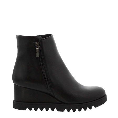Mariah Black Leather Wedge Ankle Boots  - Click to view a larger image