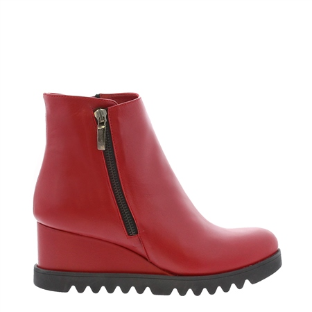 Mariah Red Leather Wedge Ankle Boots  - Click to view a larger image