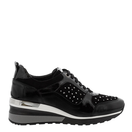 Navitta Black Wedge Trainers  - Click to view a larger image