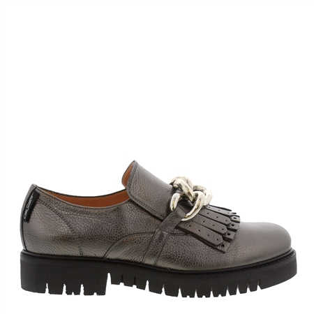 Nicole Chrome Patent Leather Loafers  - Click to view a larger image