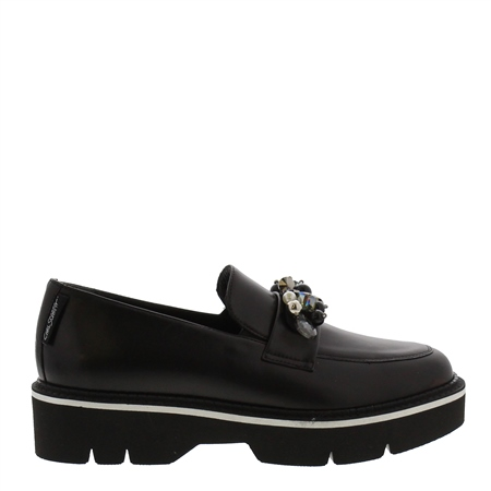 Nilah Black Leather Loafers  - Click to view a larger image