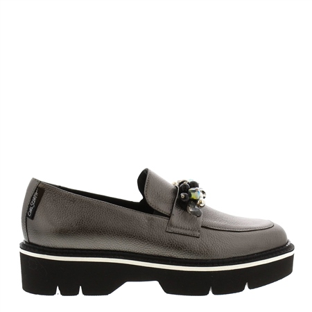 Nilah Chrome Leather Loafers  - Click to view a larger image