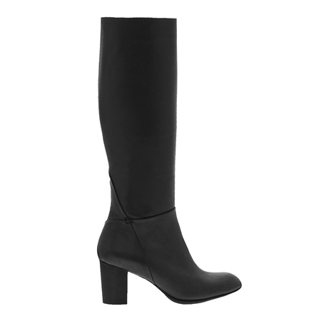 Vespera Black Leather Knee High Boots  - Click to view a larger image