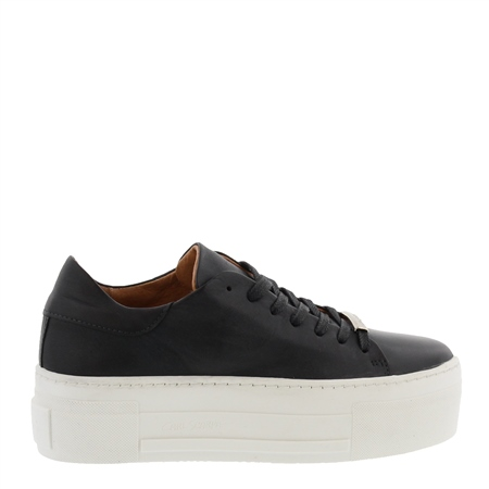 Polina Black Leather Trainers