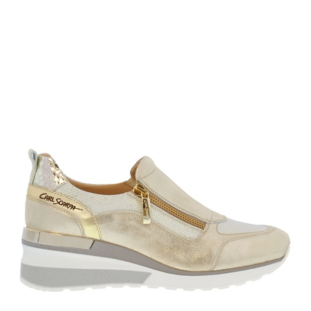 Abbey Gold Metallic Wedge Trainers 1